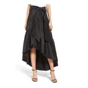 ELIZA J Black Faux Wrap Skirt